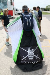 WC wingsuit Brig Paul Cain chair APA prepares for flight he came 26th overall